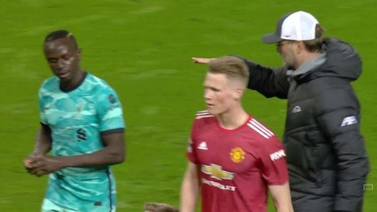 Sadio Mane refused to shake Jurgen Klopp's hand at full-time at Old Trafford