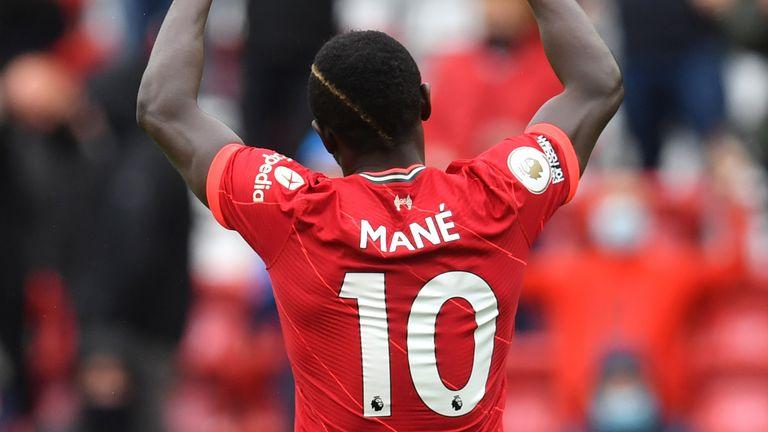 Sadio Mane celebrates scoring Liverpool's second goal (AP)