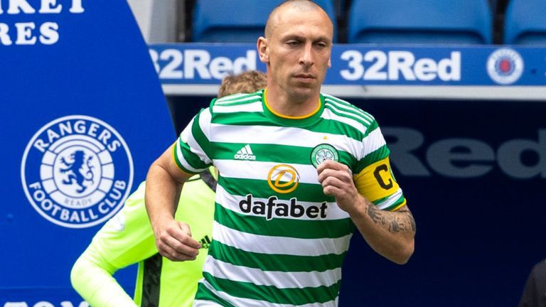 GLASGOW, SCOTLAND - MAY 02: Celtic Captain Scott Brown runs out for his last Old Firm during a Scottish Premiership match between Rangers and Celtic at Ibrox Park, on May 02, 2021, in Glasgow, Scotland. (Photo by Alan Harvey / SNS Group)