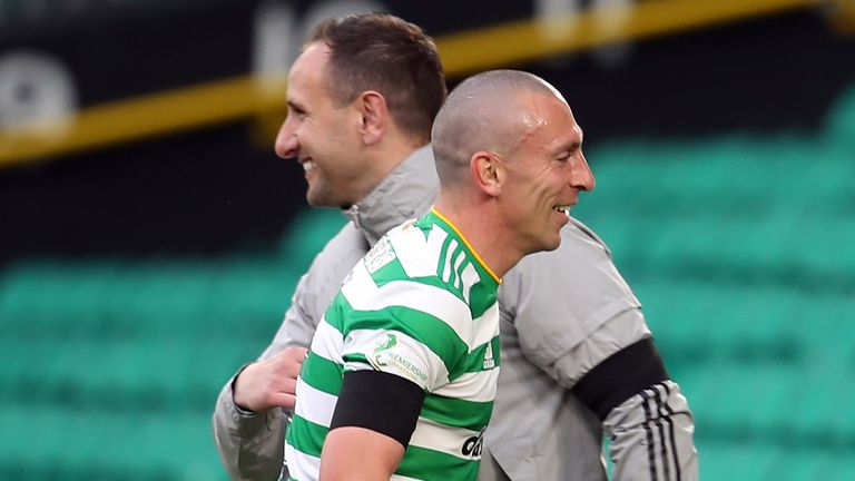 Celtic's Scott Brown with manager John Kennedy after being substituted against St Johnstone