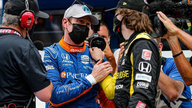 Scott Dixon and Colton Herta after Fast Nine Qualifying