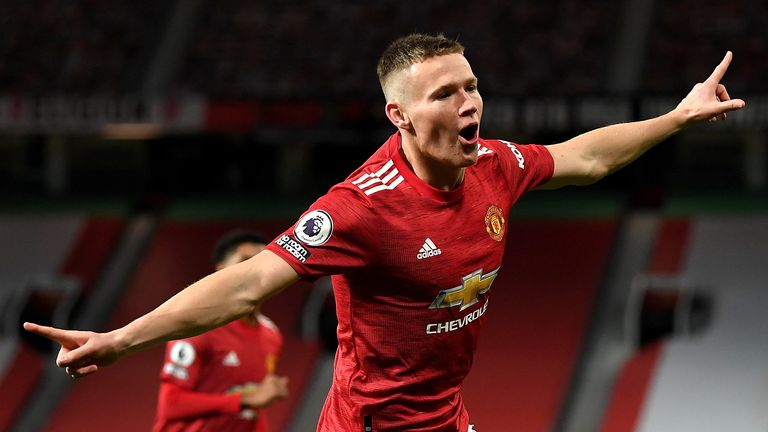 Manchester United's Scott McTominay celebrates scoring his side's second goal of the game during the Premier League match at Old Trafford, Manchester.