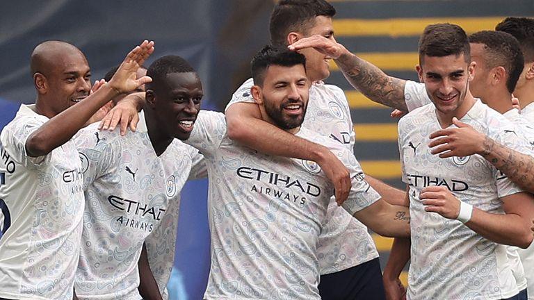 Sergio Aguero celebrates  his goal