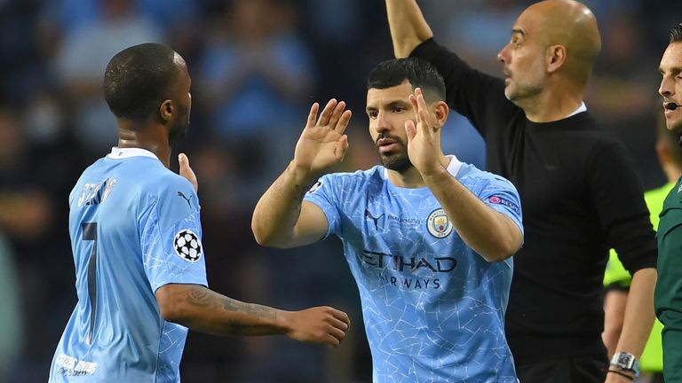 Sergio Aguero comes on for his final Man City appearance in the Champions League final
