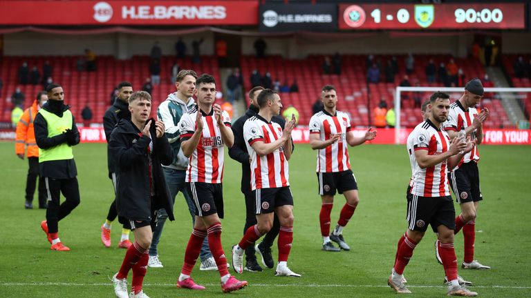 Sheffield United salute returning fans from Bramall Lane as they bow out of the Premier League