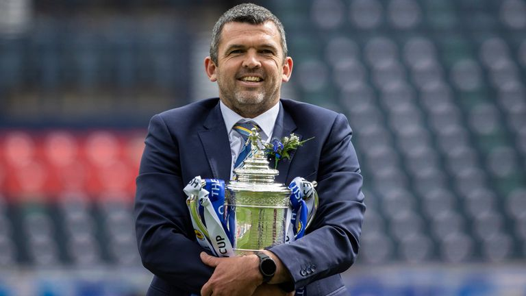 St Johnstone manager Callum Davidson pictured with the Scottish Cup trophy after their victory over Hibernian in the final at Hampden Park
