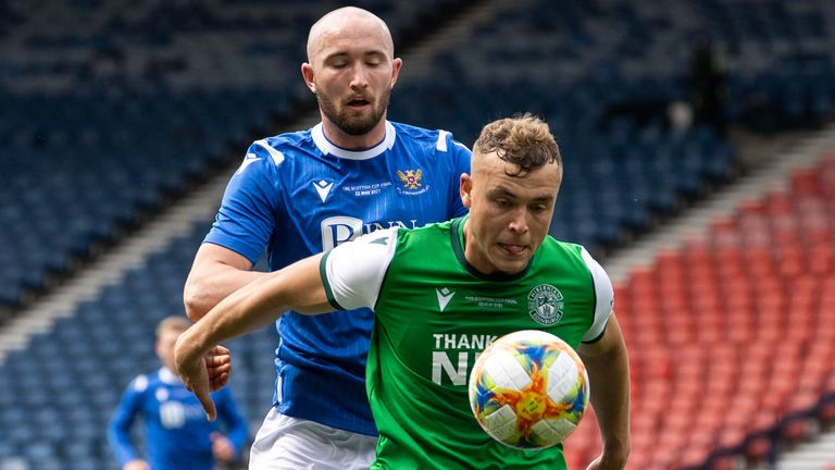 St Johnstone's Chris Kane and Hibernian's Ryan Porteous in action during the Scottish Cup final at Hampden Park