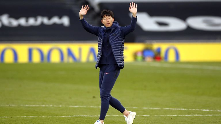 Heung-min Son waves to Tottenham fans after his side's defeat to Aston Villa