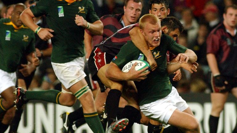 South Africa in action against Georgia at the 2003 Rugby World Cup