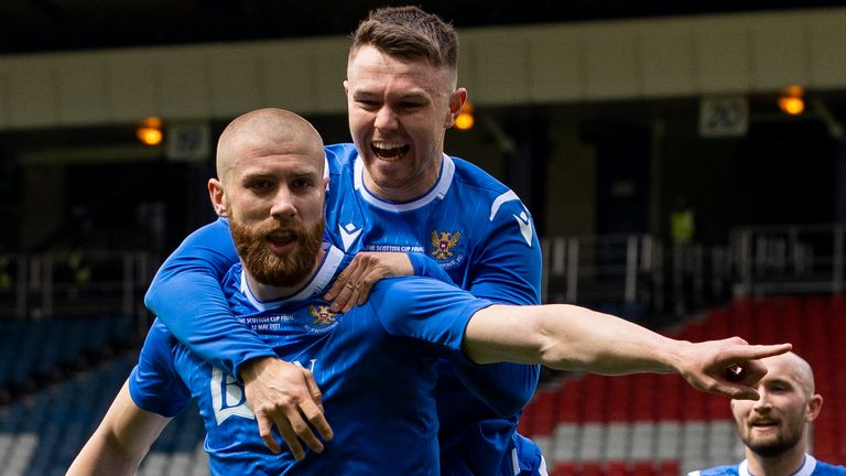 GLASGOW, SCOTLAND - MAY 22:  St Johnstone's Shaun Rooney celebrated after scoring to make it 1-0 during the Scottish Cup final match between Hibernian and St Johnstone at Hampden Park, on May 22, 2021, in Glasgow, Scotland. (Photo by Alan Harvey / SNS Group)