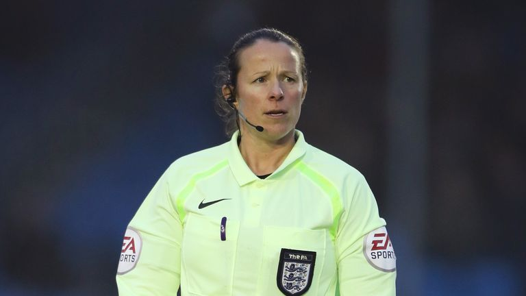 Referee Stacey Pearson during the Women's Super League match at SportNation.bet Stadium, Solihull.