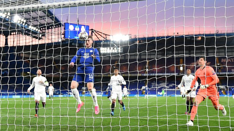 Timo Werner heads Chelsea in front against Real Madrid in the Champions League semi-final second leg