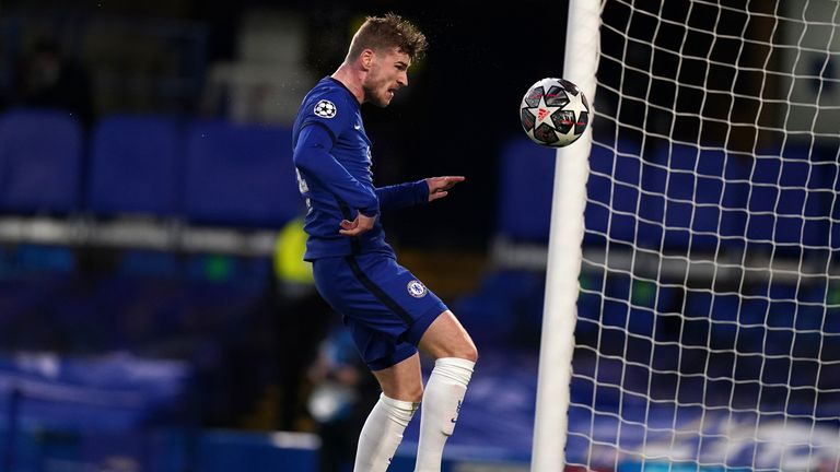Timo Werner nods in Chelsea's opening goal against Real Madrid