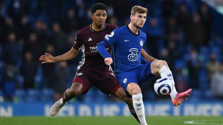 Chelsea's Timo Werner shields the ball with Leicester's Wesley Fofana (AP)