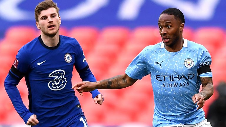 Chelsea's Timo Werner (left) and Manchester City's Raheem Sterling battle for the ball during the FA Cup semi final match at Wembley Stadium, London. Picture date: Saturday April 17, 2021.