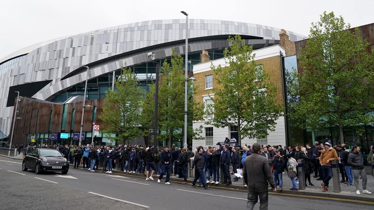 PA - Fans protest outside Tottenham Hotspur Stadium