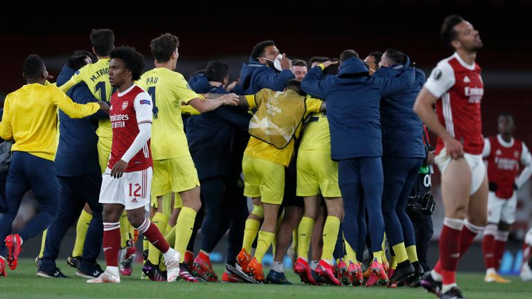 Villarreal players celebrate their Europa League victory over Arsenal