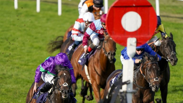 Great Yarmouth Races - Thursday September 17 2020 Hamish Macbeth ridden by jockey Ryan Moore (left) wins The Moulton Nurseries Handicap at Great Yarmouth Racecourse.