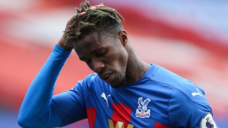 Wilfried Zaha struggled through a groin issue in Crystal Palace's 2-0 defeat to Manchester City