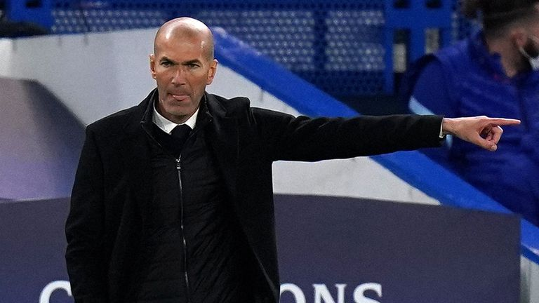 Real Madrid manager Zinedine Zidane gestures on the touchline during the UEFA Champions League Semi Final second leg match at Stamford Bridge, London. Picture date: Wednesday May 5, 2021.