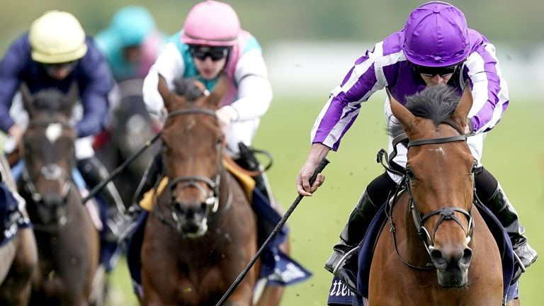 Snowfall ridden by Ryan Moore (right) on their way to winning the Tattersalls Musidora Stakes during day one of the Dante Festival at York Racecourse. Picture date: Wednesday May 12, 2021.