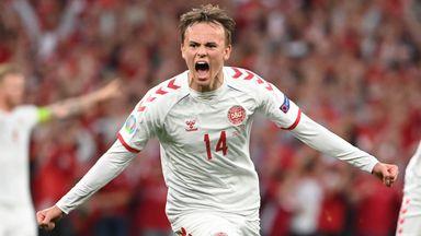 Denmark's Mikkel Damsgaard celebrates after scoring against Russia