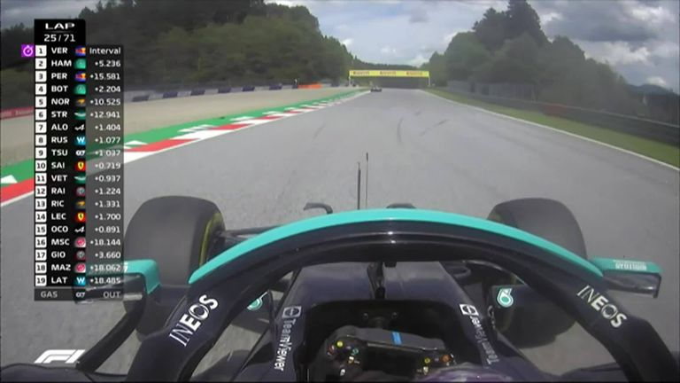 Lewis Hamilton almost loses the car at turn five as his tyres struggle to maintain grip.