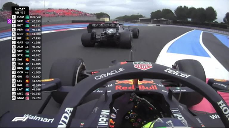 Red Bull's Sergio Perez made the move on Valtteri Bottas in the closing stages for third at Circuit Paul Ricard