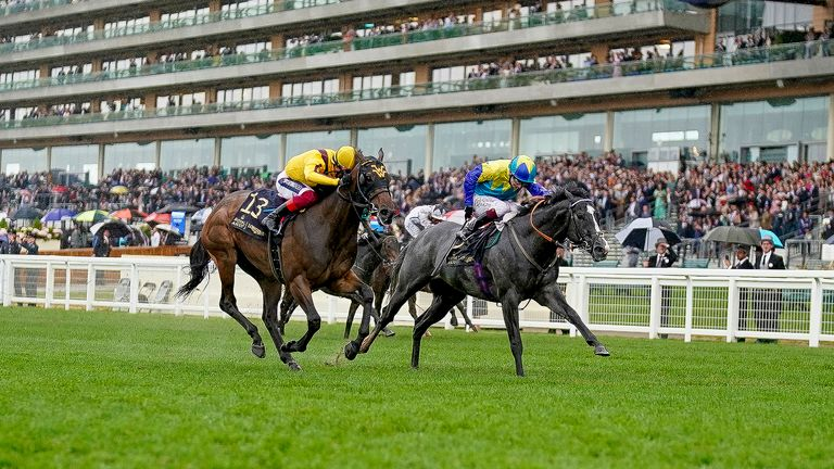 Dragon Symbol is first past the post in the Commonwealth Cup but Campanelle (near side) gets the race in the stewards' room