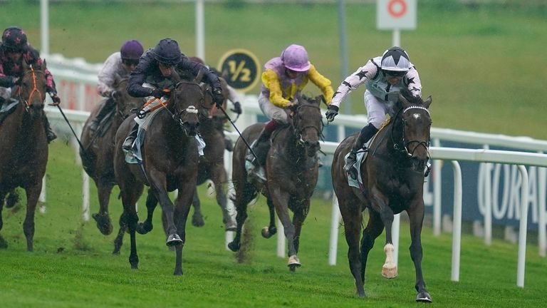 Mark Crehan riding Oscula to victory in the Cazoo Woodcote EBF Stakes at Epsom
