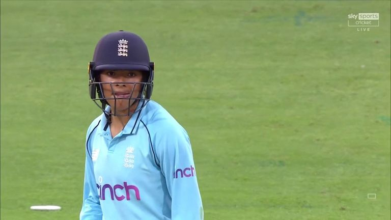 Watch some of the best bits of Sophia Dunkley's maiden ODI half century.