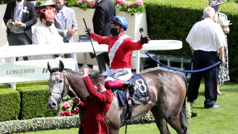 Frankie Dettori celebrates on Indie Angel after winning the Duke Of Cambridge Stakes