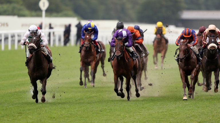 Sandrine ridden by David Probert (left) wins the Albany Stakes at Royal Ascot