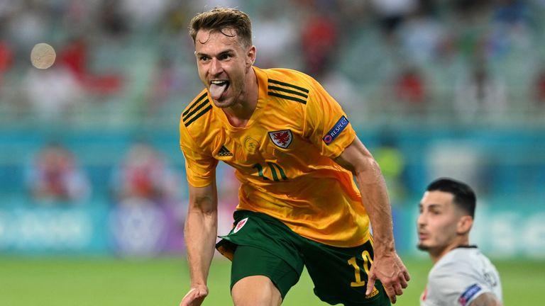 Aaron Ramsey celebrates scoring Wales first goal against Turkey