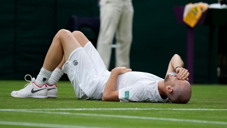 Adrian Mannarino was forced to retire in the fifth set after a heavy fall earlier in the match