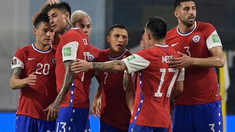 Alexis Sanchez celebrates Chile's equaliser with team-mates