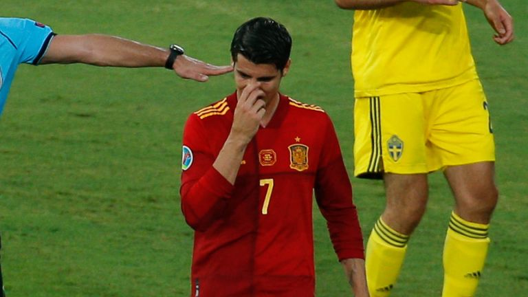 Alvaro Morata of Spain laments during the UEFA EURO 2020 Group E football match between Spain and Sweden at La Cartuja stadium on June 14, 2021 in Seville, Spain.