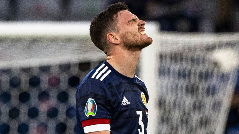 GLASGOW, SCOTLAND - JUNE 22: Scotland's Andrew Robertson during a Euro 2020 match between Croatia and Scotland at Hampden Park, on June 22, 2021, in Glasgow, Scotland. (Photo by Craig Williamson / SNS Group)