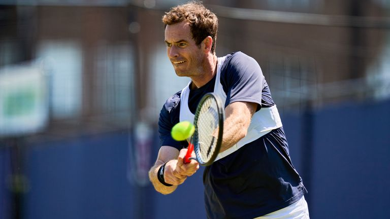 Andy Murray practices during a preview day ahead of the cinch Championship at the Queen's Club, London. Picture date: Sunday June 13, 2021.