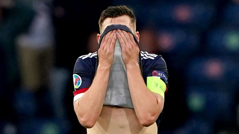 Scotland's Andrew Robertson looks dejected during the defeat to Croatia