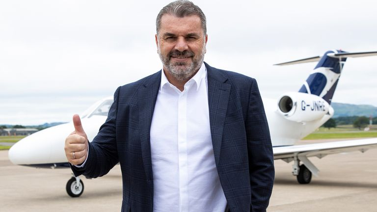 New Celtic manager Ange Postecoglou arrives at Glasgow Airport on Wednesday