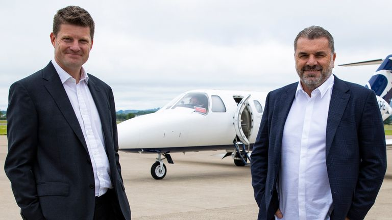 GLASGOW, SCOTLAND - JUNE 23: New Celtic Manager Ange Postecoglou arrives at Glasgow Airport alongside Chief Executive Dominic McKay on June 23, 2021, in Glasgow, Scotland.  (Photo by Craig Williamson / SNS Group)