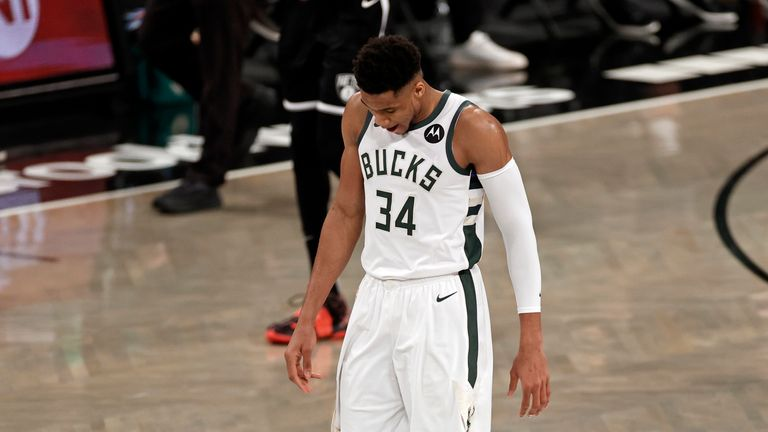 Milwaukee Bucks forward Giannis Antetokounmpo reacts against the Brooklyn Nets during the second half of Game 1 of an NBA basketball second-round playoff series
