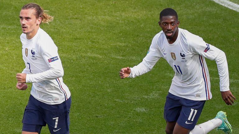 Antoine Griezmann celebrates after scoring for France vs Hungary
