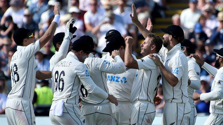New Zealand celebrate during Edgbaston Test against England (AP Newsroom)