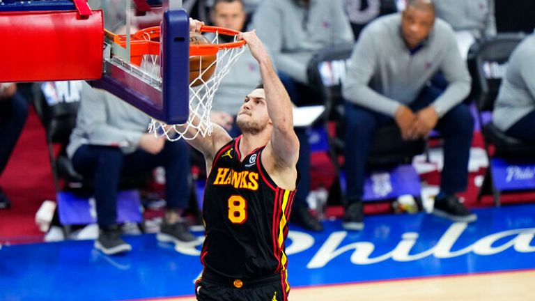 Atlanta Hawks' Danilo Gallinari plays during Game 7 in a second-round NBA basketball playoff series against the Philadelphia 76ers, Sunday, June 20, 2021, in Philadelphia