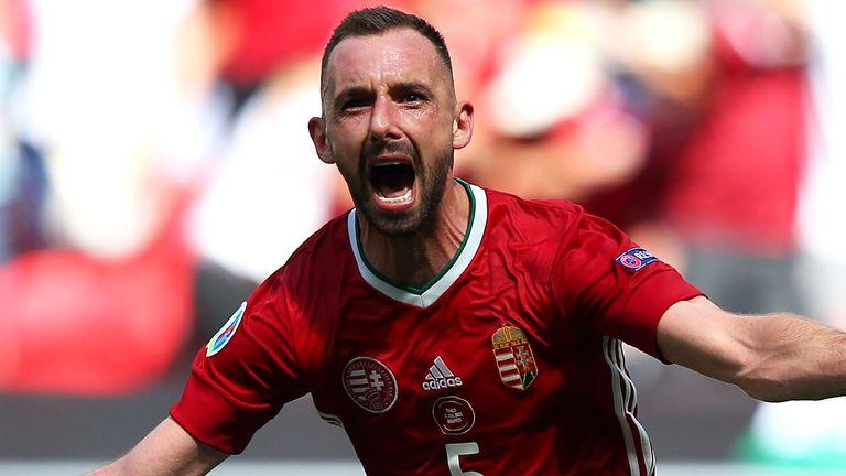 Hungary's Attila Fiola celebrates after scoring against France