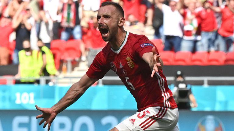 Hungary's Attila Fiola celebrates scoring vs France