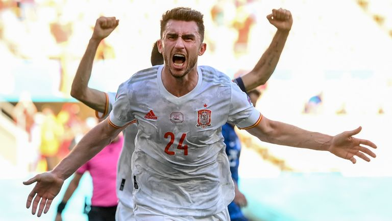 Aymeric Laporte celebrates his first goal for Spain