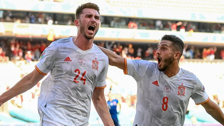 Spain's Aymeric Laporte celebrates after scoring Spain's second goal (AP)
